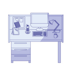 Blue shading silhouette of workplace office vector