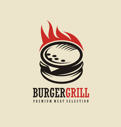burger logo design idea vector image vector image
