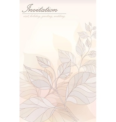 Card - an invitation stylized leaves in pastel col vector image vector image