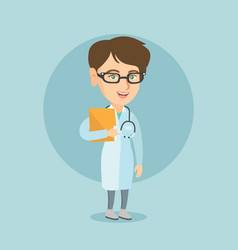 Caucasian doctor with a stethoscope and a file vector