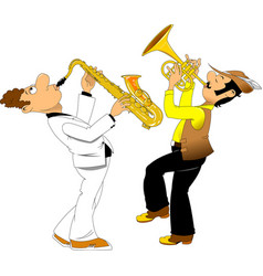 cheerful trumpeter and saxophonist vector image vector image