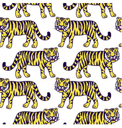 cute tiger cartoon roaring vector image vector image