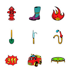 Fire extinguisher icons set cartoon style vector