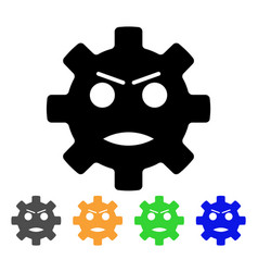 Gear angry smiley icon vector