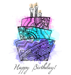greeting card with cake with boho pattern vector image vector image