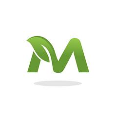 letter m leaf logo vector image