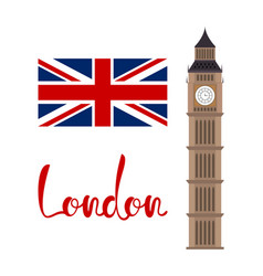 London concept big ben tower with flag and vector