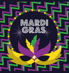 Mardi gras carnival masks with feathers beads vector