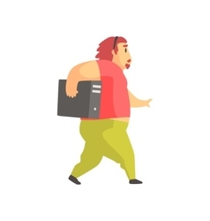 Programmer walking holding system unit funny vector