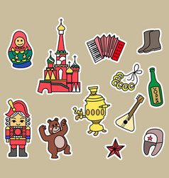Russia culture doodle graphic element vector