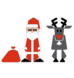 Santa claus and nosed reindeer on white background vector