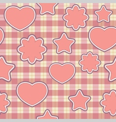 seamless pattern with pink applications on checker vector image vector image