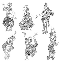 set indian dancers vector image vector image
