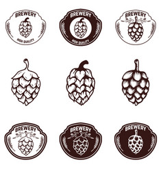 Set of brewery emblems beer hope design elements vector