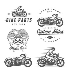 Set of vintage motorcycle design elements vector