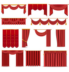 Theather scene red blind curtain stage fabric vector