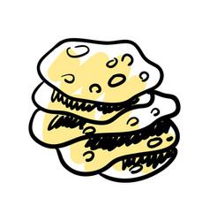 Traditional mexican tortilla hand drawn icon vector