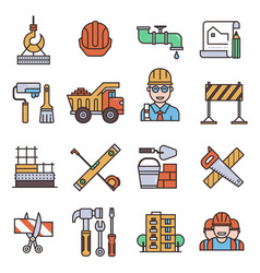 under construction outline icons engineering vector image vector image