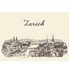 Zurich skyline drawn sketch vector