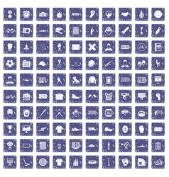 100 mens team icons set grunge sapphire vector image vector image