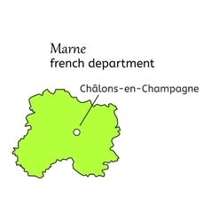 Marne french department map vector
