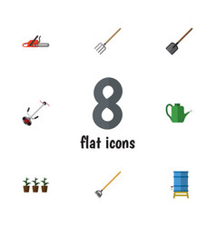 flat garden set of tool hacksaw shovel and other vector image