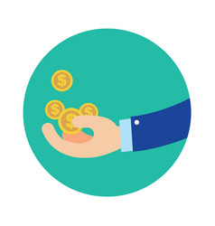 Flat business hand getting coins in green circle vector