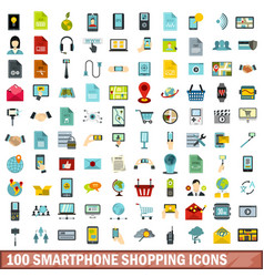 100 smartphone shopping icons set flat style vector