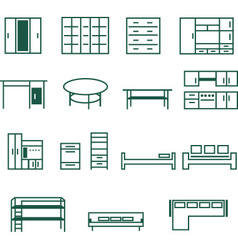 Furniture for home and office icon set vector
