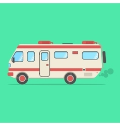 Red and beige travel camper van isolated on green vector
