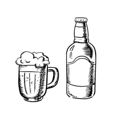 Beer bottle and filled tankard vector