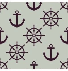 Anchor and ship wheel nautical texture vector