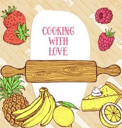 Cooking card on wooden pattern vector