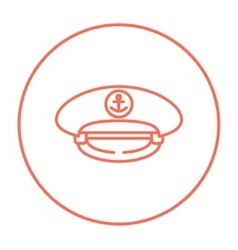 Captain peaked cap line icon vector