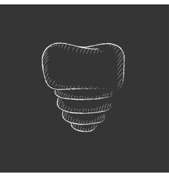 Tooth implant drawn in chalk icon vector