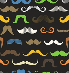 Different color retro style moustache seamless vector