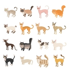 Cat icons set cartoon style vector