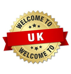 Uk 3d gold badge with red ribbon vector