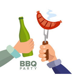 barbecue party concept cooked hot sausage vector image