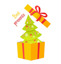 Best presents christmas tree on white background vector
