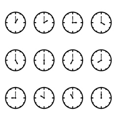 clock that show every hour on white set vector image vector image