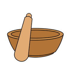 Color image cartoon salt bowl with wooden shaker vector