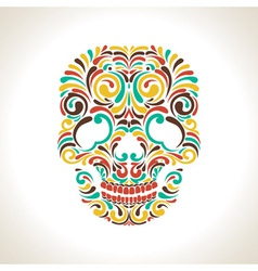 Colorful ornate skull vector image