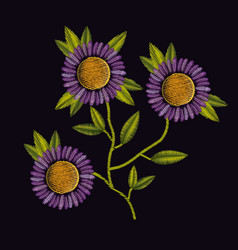 colorful purple daisy flowers plant set embroidery vector image vector image