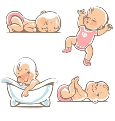 Cute babies in pink clothes vector