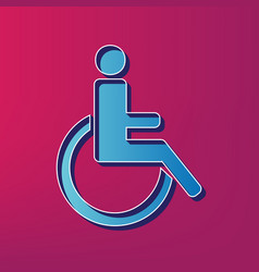 disabled sign blue 3d vector image vector image