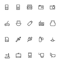 Electronics Stroke Icons 2 vector image