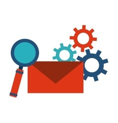 Envelope lupe and gears icon blog concept vector