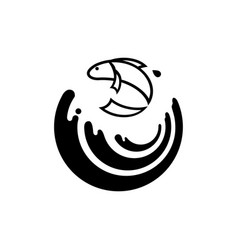 fish jump over the wave logo vector image vector image