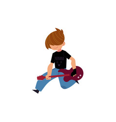 flat man playing rock electric guitar music vector image